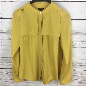 Ann Taylor Mustard Silk Blouse Sz 6